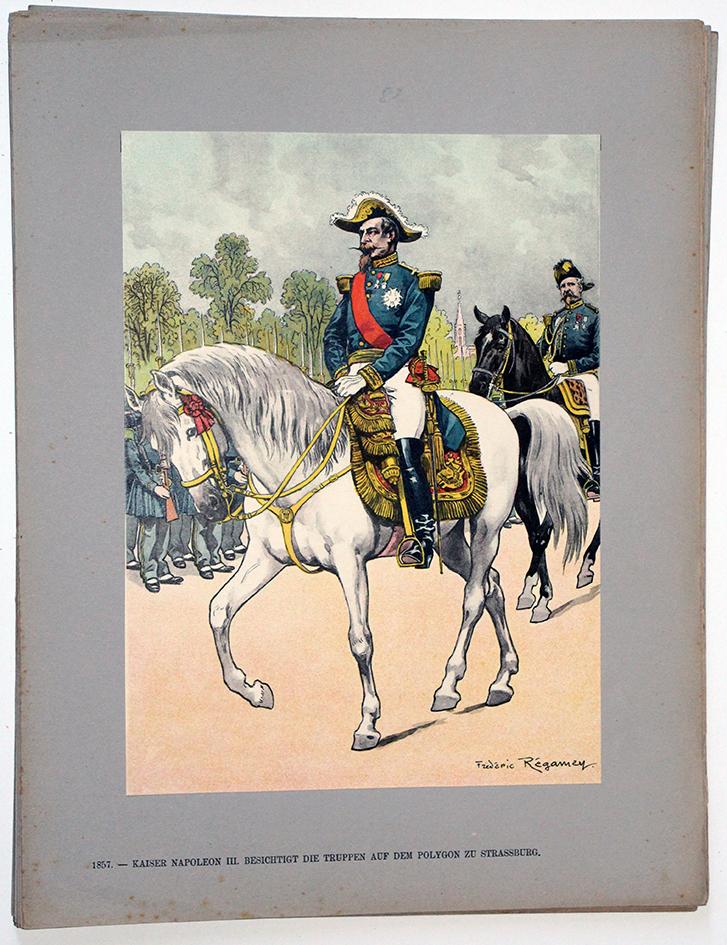 Les garnisons d'Alsace - Gravure Regamey - Napoléon III parade des troupes Strasbourg 1857