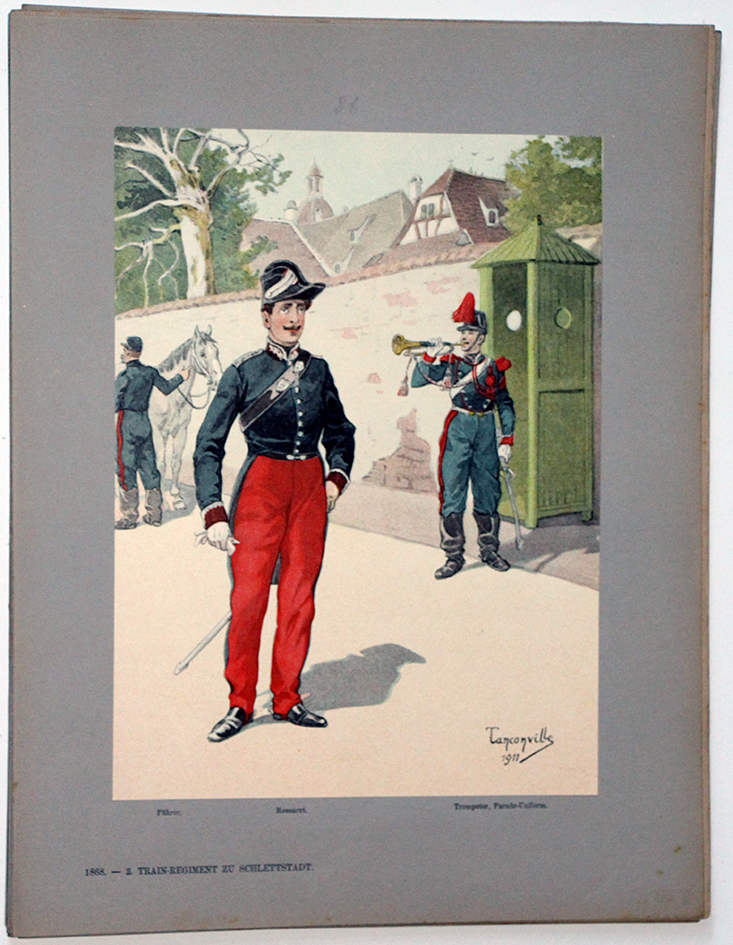 Les garnisons d'Alsace - Gravure Tanconville - Régiment du Train 1868 Uniforme