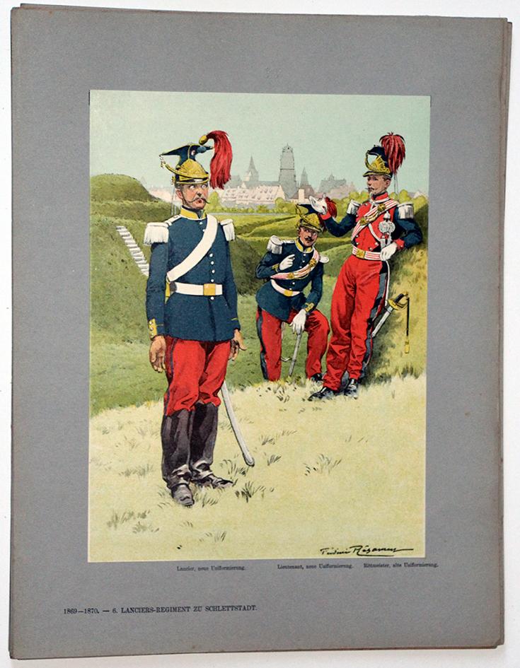 Les garnisons d'Alsace - Gravure Regamey - 6eme Lancier 1869/1870