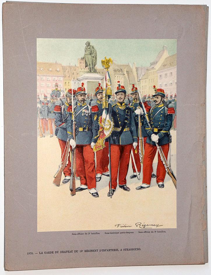 Les garnisons d'Alsace - Gravure Regamey - Infanterie de Ligne 1870 place Kleber