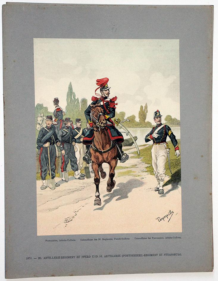 Les garnisons d'Alsace - Gravure Tanconville - Artillerie Pontonnier 1870 Strasbourg