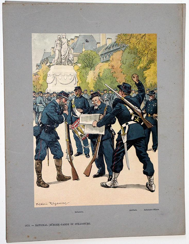 Les garnisons d'Alsace - Gravure Regamey - Garde national Strasbourg 1870