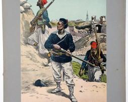 Les garnisons d'Alsace - Gravure Regamey - Marins Turcos et Zouaves - Siège de Strasbourg 1870
