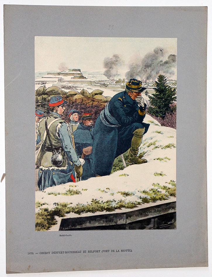 Les garnisons d'Alsace - Gravure Regamey - Denfert Rochereau Siège de Belfort 1870