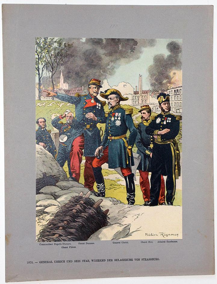 Les garnisons d'Alsace - Gravure Regamey - Siège de Strasbourg Général Uhrich Etat Major