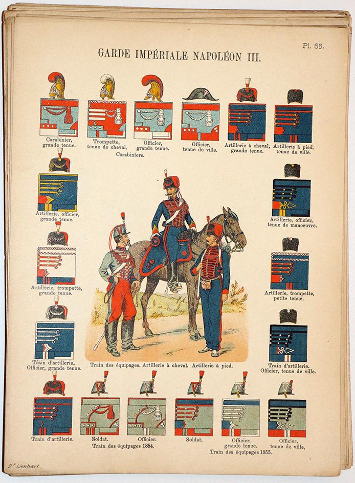 Lienhardt et Humbert - Uniformes de l'armée Française - TIII - Planche 65 - Garde Impériale Napoléon III