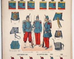 Lienhardt et Humbert - Uniformes de l'armée Française - TIII - Planche 63 - Infanterie 1855-1899