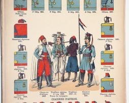 Lienhardt et Humbert - Uniformes de l'armée Française - TIII - Planche 58 - Troupe d'Afrique tirailleurs algériens