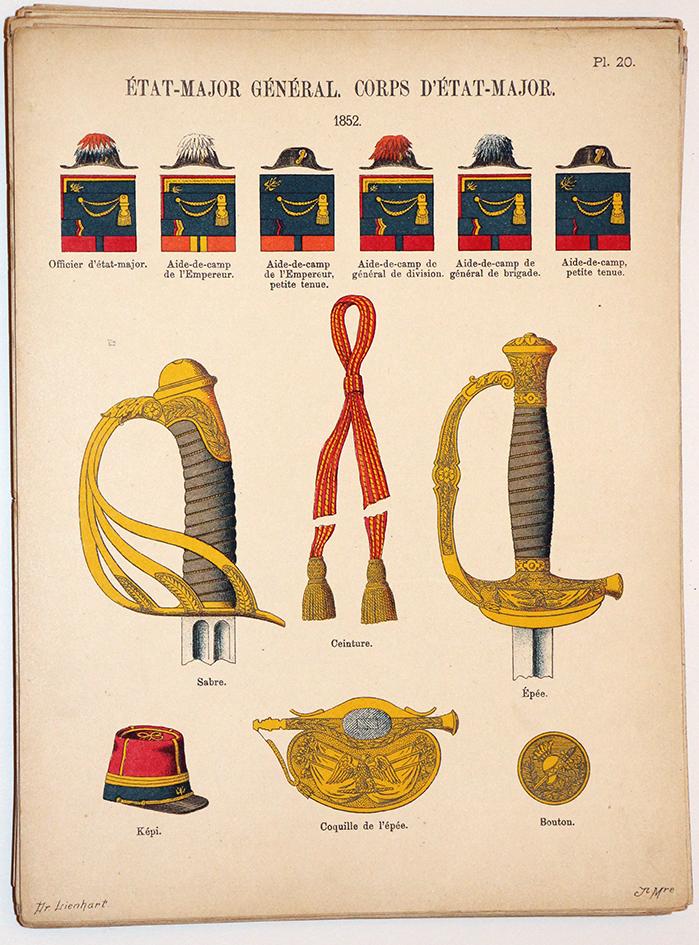 Lienhardt et Humbert - Uniformes de l'armée Française - TIII - Planche 20 - État Major Général 1852