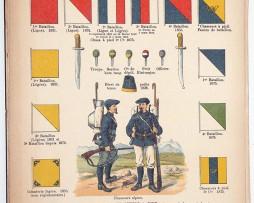 Lienhardt et Humbert - Uniformes de l'armée Française - TIII - Planche 56 - Infanterie et Chasseurs - Fanions