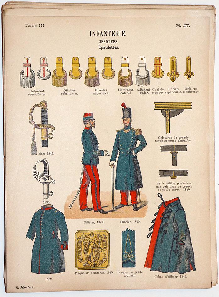 Lienhardt et Humbert - Uniformes de l'armée Française - TIII - Planche 47 - Infanterie Officiers Épaulettes