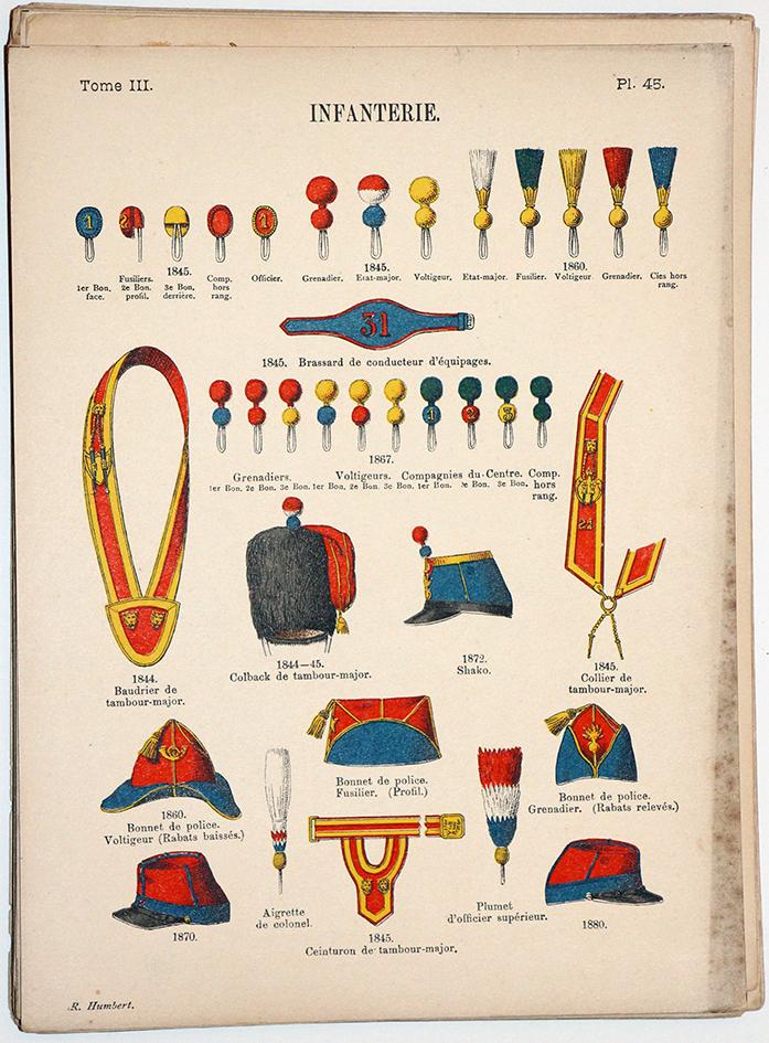 Lienhardt et Humbert - Uniformes de l'armée Française - TomeIII - Pl45 - Infanterie Généralités