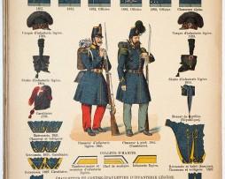 Lienhardt et Humbert - Uniformes de l'armée Française - TIII - Planche 54 - Chasseurs à Pied et Infanterie Légère