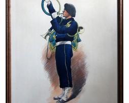 Musicien Chasseur à Pied 1939 - cor et clairon - Edmond Lajoux - Gravure rehaussée pochoir sous cadre