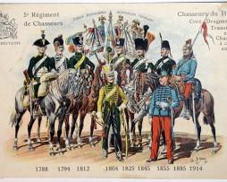 2 Cartes Sabretache Historique Régiment - 5e Régiment de Chasseurs - 15 Régiment d'infanterie.