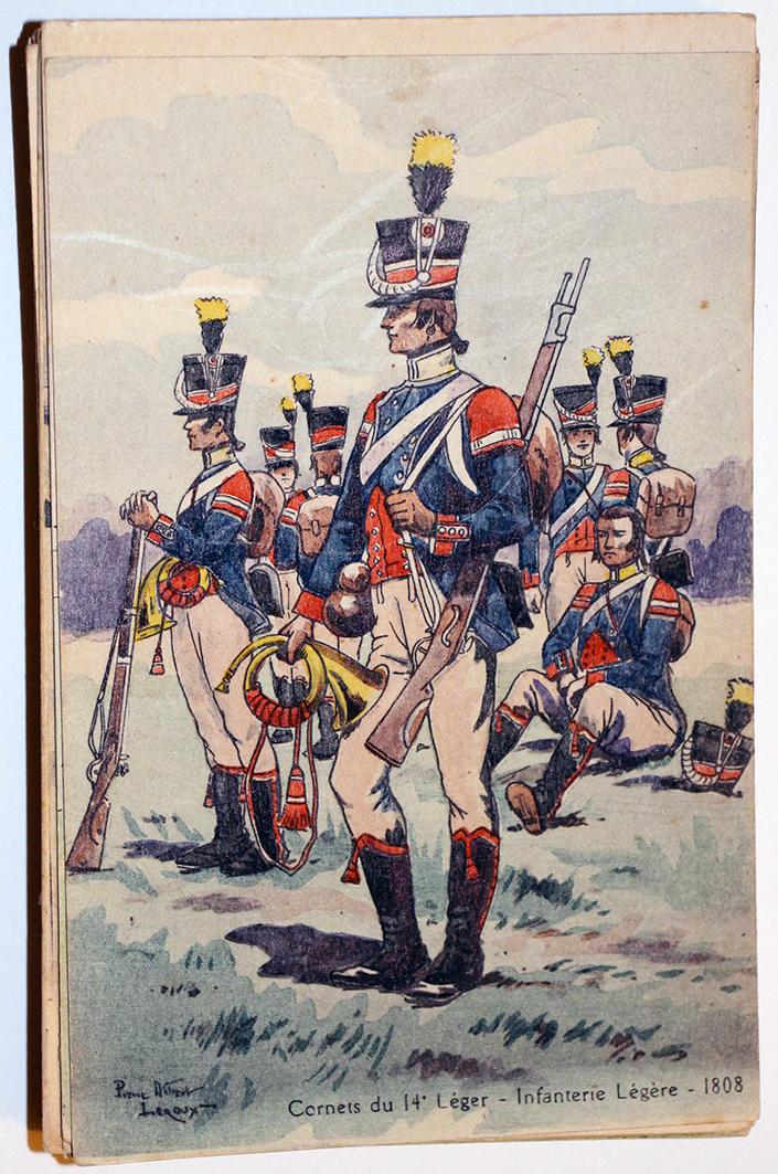 Uniforme - Cornet du 14e Léger - Carte postale - Pierre Albert Leroux