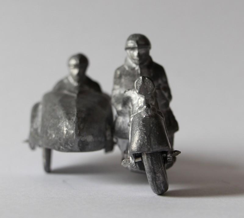 Figurines Ancienne Side Car Armée Française Plomb Plein