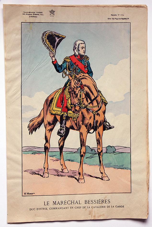 Planche Epinal / Jarville - Illustration de Victor Huen - 1er Empire - Uniformes - Maréchal Bessières
