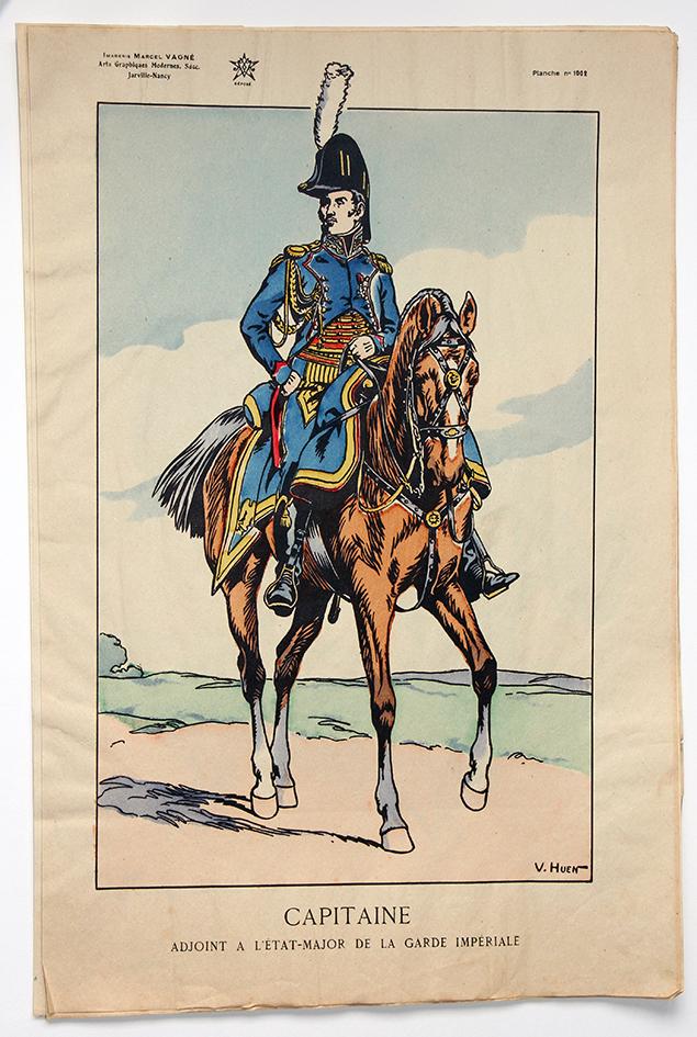 Planche Epinal / Jarville - Illustration de Victor Huen - 1er Empire - Uniformes - Capitaine Adjoint Etat Major
