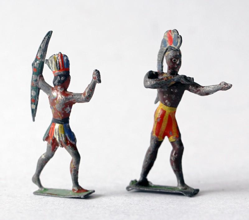 Figurines Plomb Ancien Indien Amérique Peints