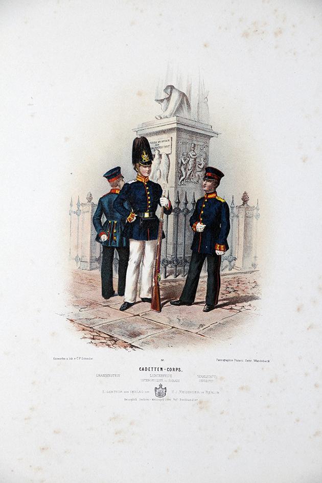 Gravure Chromolithographie XIX - Armée Prussienne - Empereur Guillaume - Uniforme
