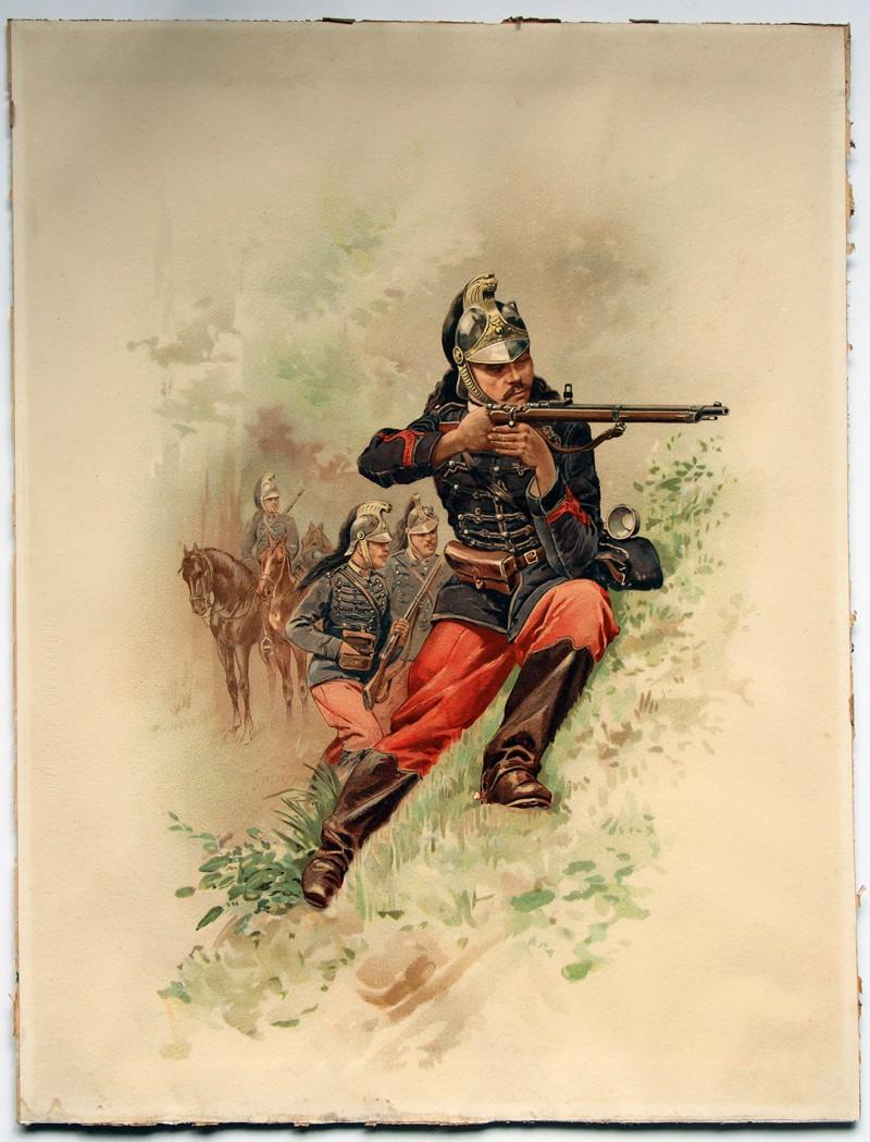 Gravure Chromolithographie - Dragons à Cheval 1880 - 3 République - Uniforme