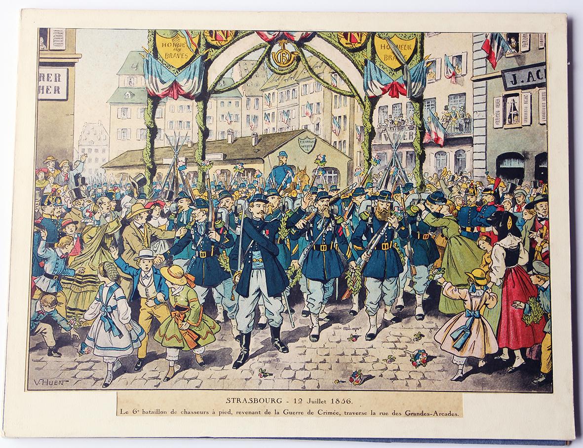 Calendrier Imprimerie Alsacienne - Huen Victor - Bataillon de Chasseurs à pied - Guerre de Crimée 1856