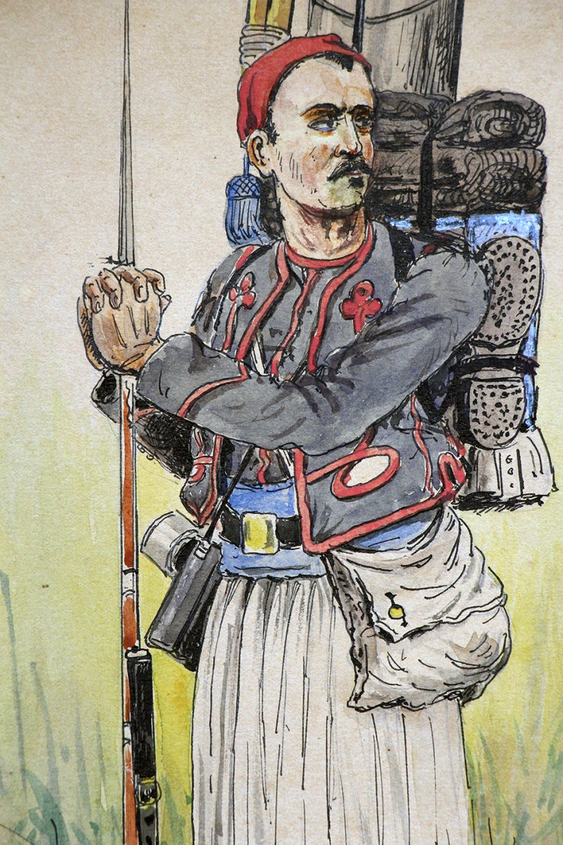 Dessin rehaussé - Zouaves uniforme - Soldat en faction - Guerre 14/18