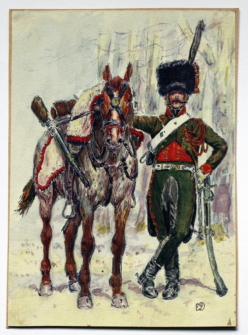 Aquarelle - Chasseurs à Cheval Garde - 1er Empire - d'après Edouard Détaille