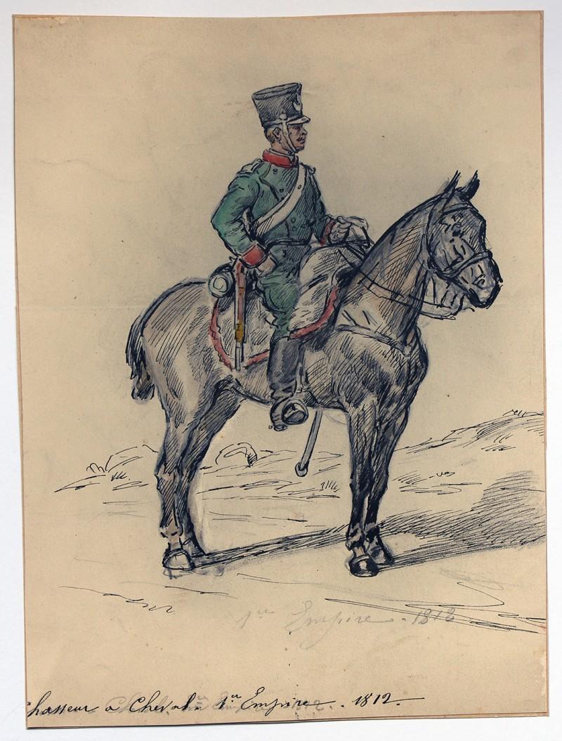 Dessin crayon rehaussé couleurs - Chasseur à Cheval - 1er Empire - Sans date.