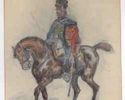 Dessin crayon rehaussé couleurs - Hussards - 1er Empire - Sans date.