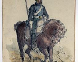 Dessin crayon rehaussé couleurs - Lanciers Chevau-Légers - 1er Empire - Sans date