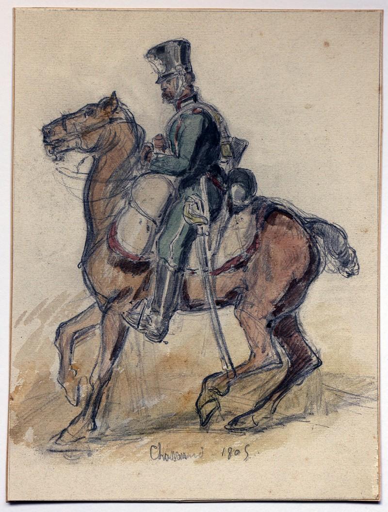 Dessin crayon rehaussé couleurs - Chasseur à Cheval - 1er Empire - Sans date