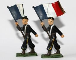 Figurines Starlux anciennes 2 Chasseurs à Pied Porte Drapeau