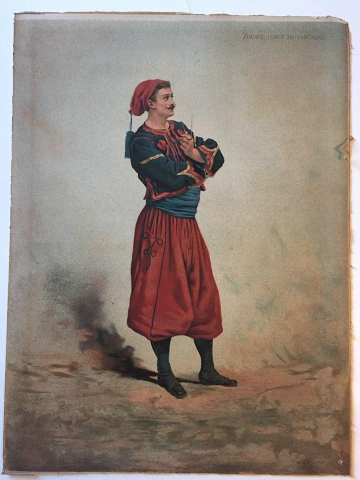 Gravure Chromolithographie - Zouaves 1880 - 3 République - Uniforme