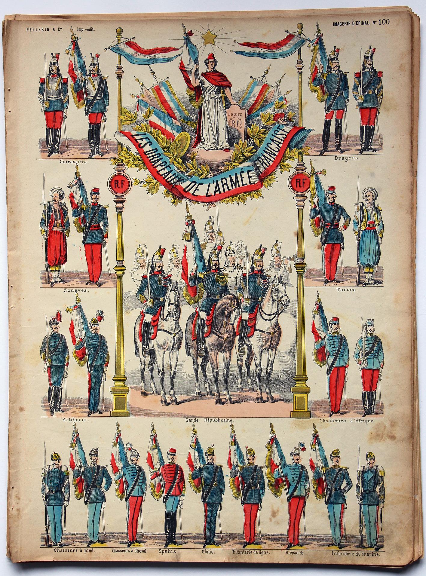 Planche imagerie Epinal - Pellerin Editeur - N°100 - Les drapeaux de l'armée Française