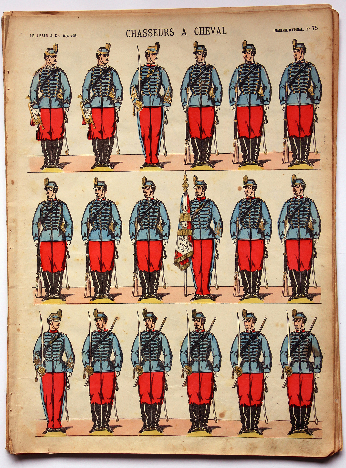Planche imagerie Epinal - Pellerin Editeur - N°75 - Chasseurs à Cheval