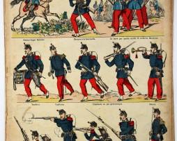 Planche imagerie Epinal - Pellerin Editeur - N°64 - Infanterie en tirailleurs - Armée Française