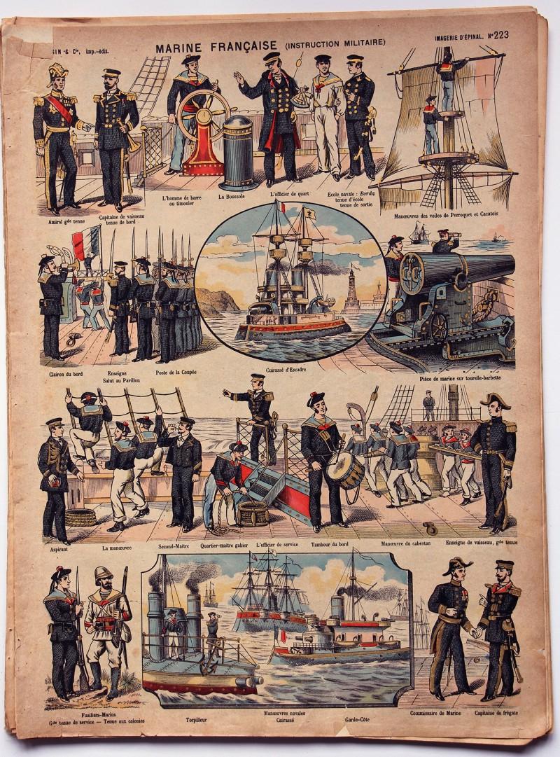 Planche imagerie Epinal - Pellerin Editeur - N°223 - Armée Française - Marine - Instruction militaire