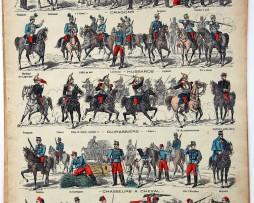 Planche imagerie Epinal - Pellerin Editeur - N°229 - Armée Française - Manoeuvre de Cavalerie