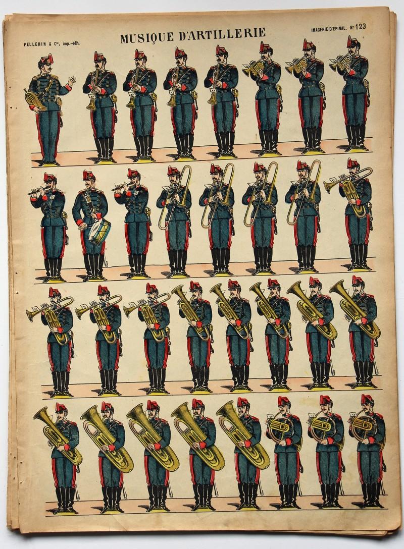 Planche imagerie Epinal - Pellerin Editeur - N°123 - Armée Française - Musique D'artillerie