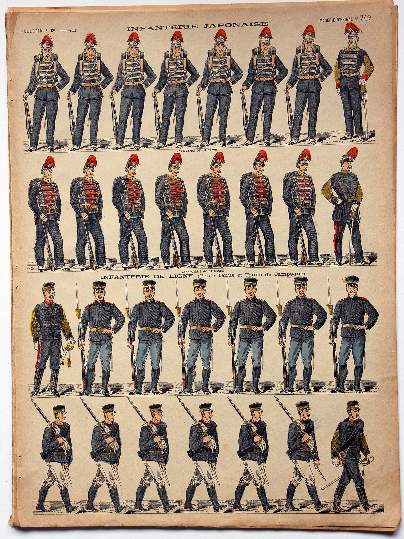 Planche imagerie Epinal - Pellerin Editeur - N°749 - Armée Japonaise