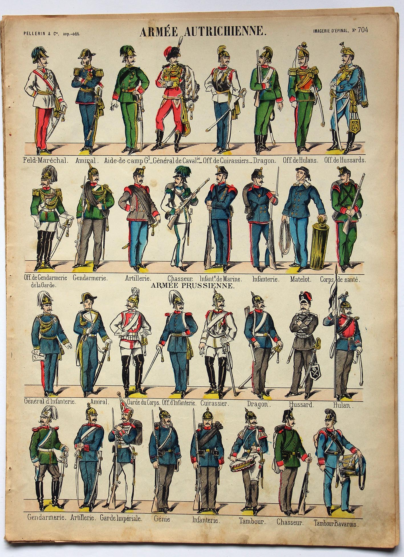 Planche imagerie Epinal - Pellerin Editeur - N°704 - Armée Autrichienne / Prussienne