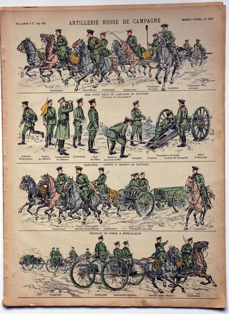 Planche imagerie Epinal - Pellerin Editeur - N°684 - Artillerie Russe en campagne