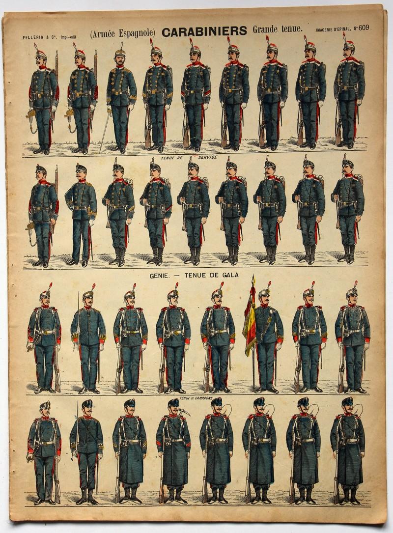 Planche imagerie Epinal - Pellerin Editeur - N°609 - Carabiniers - Armée Espagnole