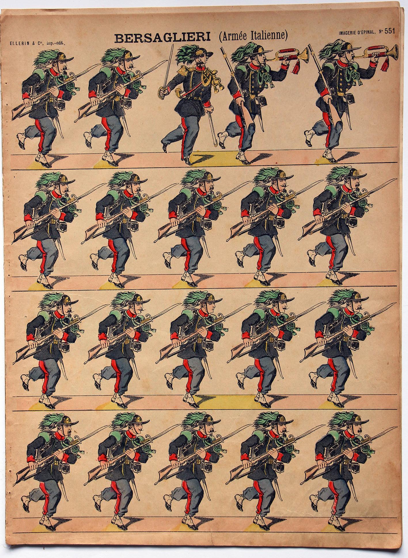 Planche imagerie Epinal - Pellerin Editeur - N°551 - Bersaglieri - Armée Italienne