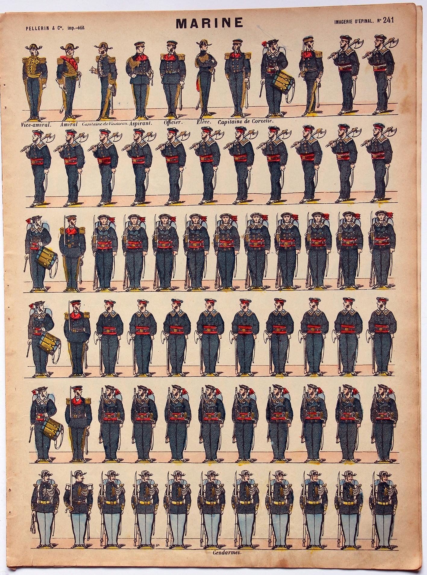 Planche imagerie Epinal - Pellerin Editeur - N°241 - Marine 3e République