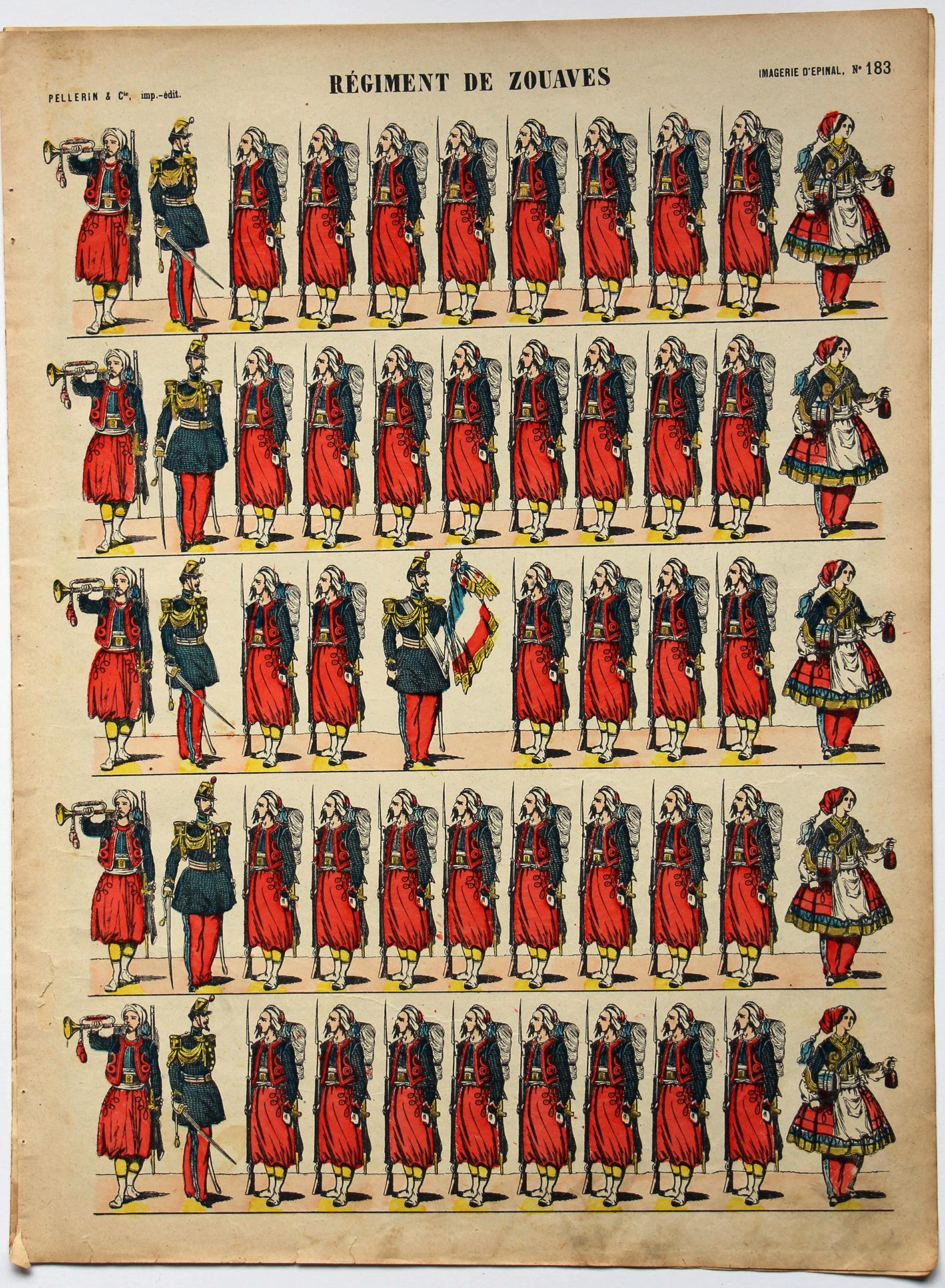 Planche imagerie Epinal - Pellerin Editeur - N°183 - Zouaves 3e République
