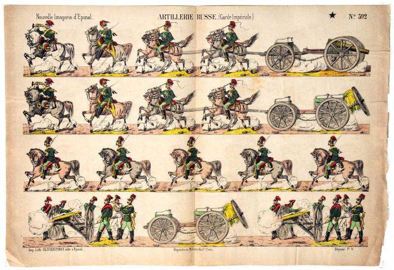Planche Nouvelle Imagerie Epinal - Olivier Pinot - Armée Russe - Artillerie Garde Impériale - N°392