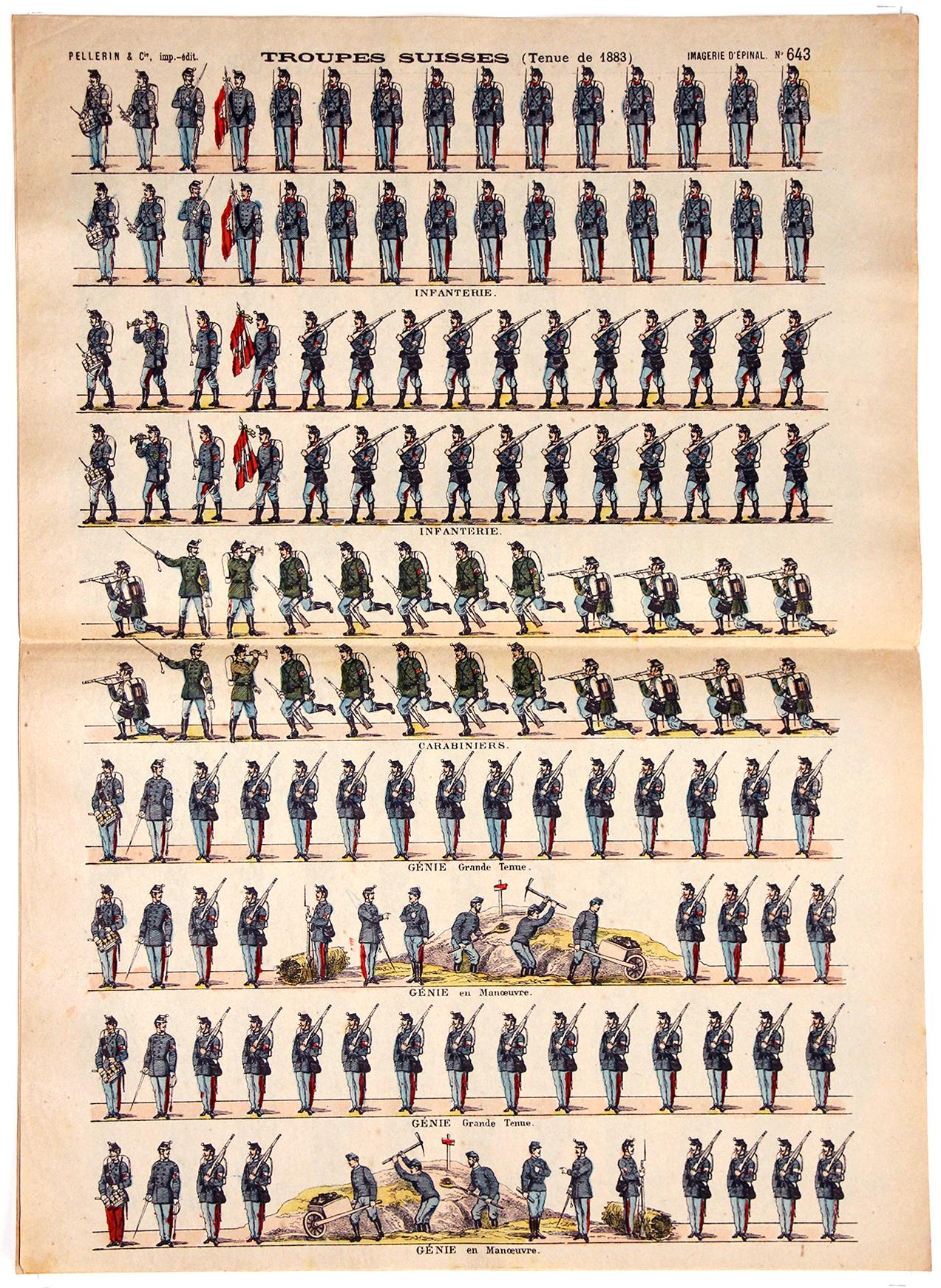 Planche Imagerie Epinal - Pellerin - Armée Suisse - Infanterie et génie